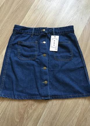 Юбка джинсовая трапеция на пуговицах синяя джинс