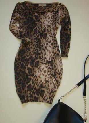 Стильное трикотажное платье next в актуальный принт m-l