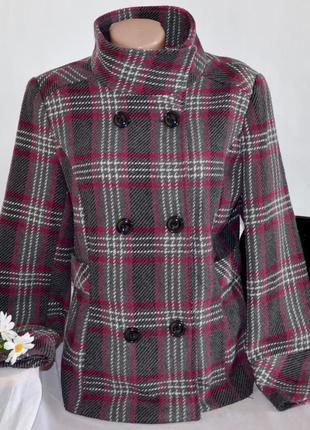 Демисезонное пальто полупальто с карманами в клетку george