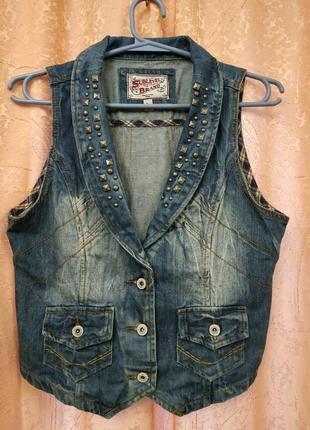Стильная брендовая джинсовая жилетка sublevel германия оригинал р.m-l