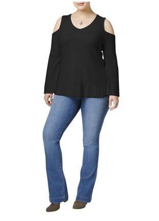 Свитер пуловер с v-вырезом и вырезами по плечам , фактурная вязка , батал, 1х