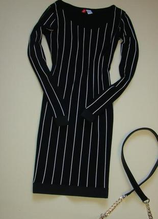 Стильное платье в полоску h&m xs-s
