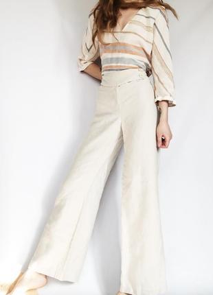 Роскошные льняные бежевые раслешенные штаны от next