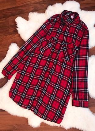 Натуральная рубашка в клетку , удлиненная рубашка -платье