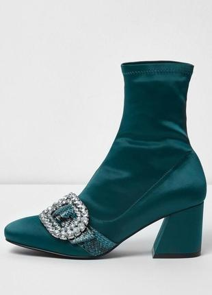 Сатиновые ботинки со вставкой из змеиной кожи river island