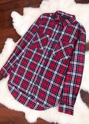 Натуральная рубашка в клетку есть размер m-l
