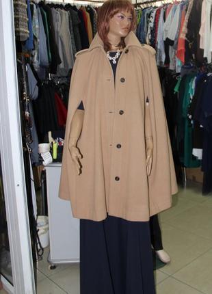 Бежевое пальто кейп m-l