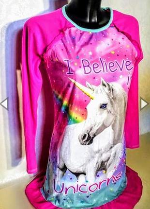 Клевая флисовая ночная рубашка платье ярко розовая с единорогом.