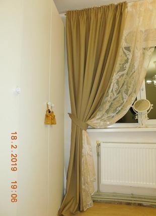 Шерстяные шторы + тюль с рисунком дамаск2 фото