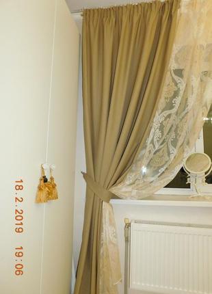 Шерстяные шторы + тюль с рисунком дамаск3 фото