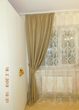 Шерстяные шторы + тюль с рисунком дамаск