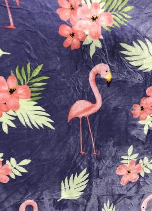 Флисовый плед фламинго евро размер