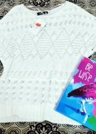 Вязаная белая футболка свободный рукав бренд flame