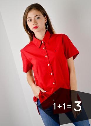 Tommy hilfiger красная рубашка с коротким рукавом, блуза