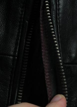 Шикарная оригинальная кожаная курточка бомбер topman размер s6