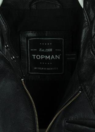 Шикарная оригинальная кожаная курточка бомбер topman размер s4