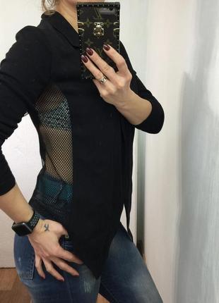 Чёрный пиджак с вставками