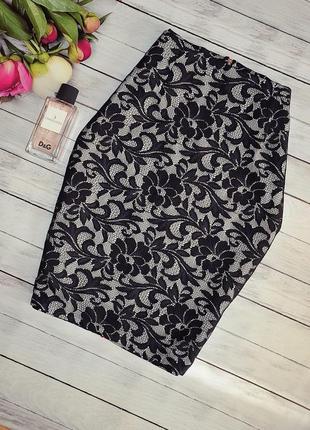 Шикарная кружевная юбка с ярким замочком