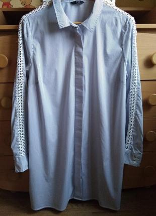 Удлинённая рубашка в полоску f&f