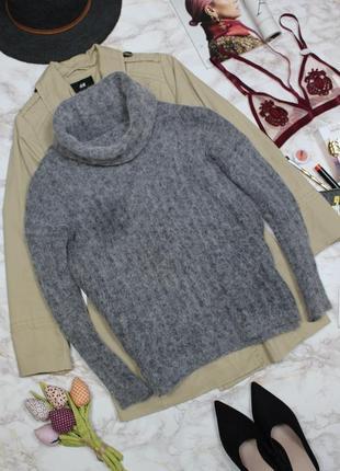 Обнова! джемпер свитер водолазка объемный ворот серый альпака шерсть esprit качество