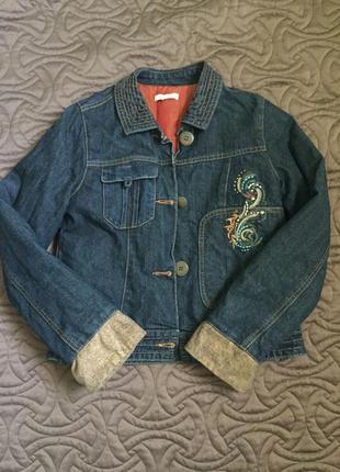 Джинсовая куртка пиджак kenzo утеплённая р-р xs s