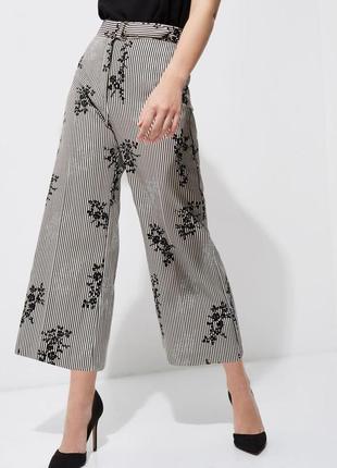 Обнова! брюки штаны кюлоты высокая талия укороченные в полоску принт бархатный качество