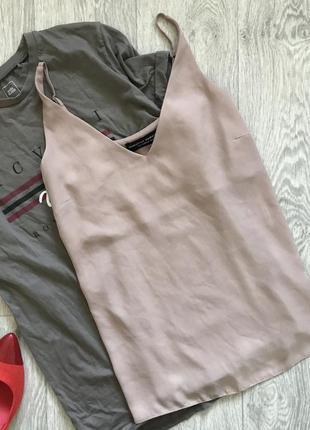 Бежевая блузка на тонких бретелях dorothy perkins