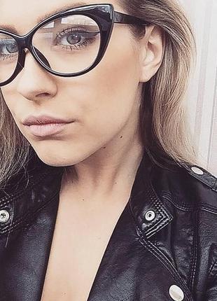 Имиджевые очки нулевки женские кошечки оправа кошачий глаз черные леопардовые
