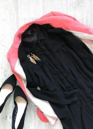 Чёрная удлиненная рубашка блуза с шифоновой вставкой reserved