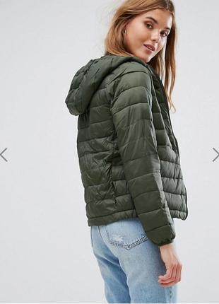 Обнова! куртка бомбер стёганая дутая зеленая капюшон pull&bear новая еврозима демисезон