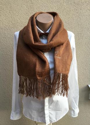 Мягкий,пушистый шарф с бахромой,эксклюзив,100%альпака2