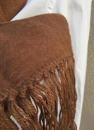 Мягкий,пушистый шарф с бахромой,эксклюзив,100%альпака3