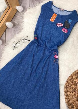 Стильное платье под джинс с принтами