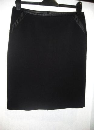 Юбка карандаш vero moda прямая чёрная с кожаными вставками каймой