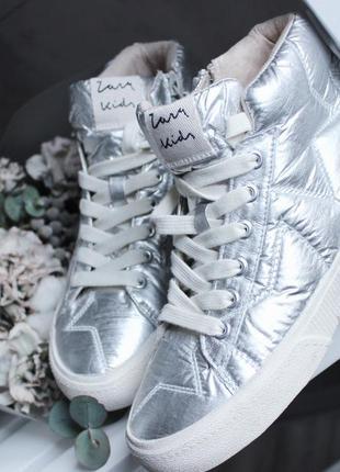 Серебряные кеды zara
