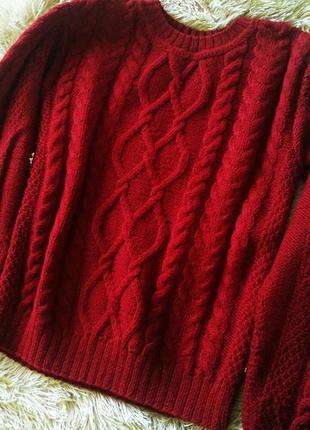 Красивый свитер бордового цвета ( марсала ) ручная работа
