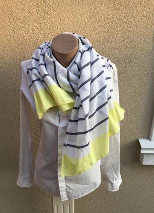 Легкий,большой,летний шарф,палантин в полоску,в морском стиле,хлопок