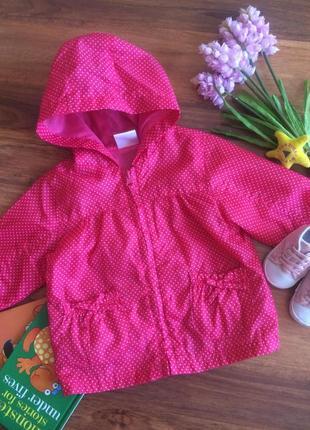 Классная малиновая в горошек ветровка,куртка,дождевик для малышки ladybird 6-9 месяцев.