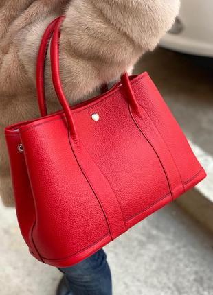 Сумка кожаная женская деловая стильная шоппер красная рыжая черная серая