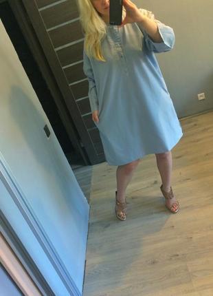 Платье рубашка нежно голубого цвета батал