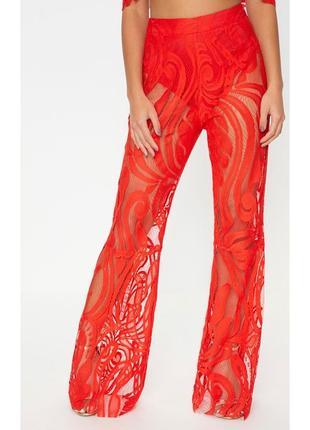 Стильные кружевные брюки prettylittlething! яркие, кружевные! качество!