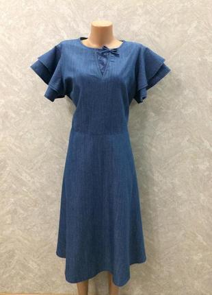 Платье джинсовое с юбкой клеш и воланами lost ink