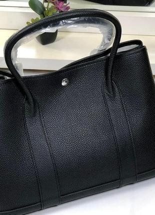 Сумка кожаная деловая стильная шоппер черная