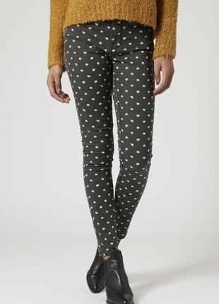 Узкие джинсы скини скинни с завышенной посадкой цветочный принт