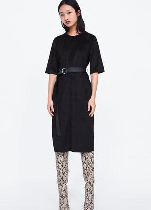 Трендовое платье zara под замш, новая коллекция