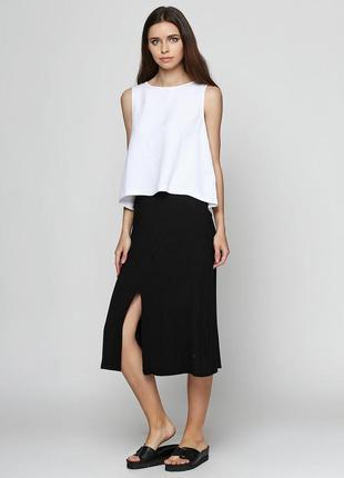 Финальный sale новых вещей! zara легкая вискозная юбка миди с разрезом спереди