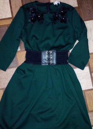 Итальянское платье, цвет тёмно-зеленый, изумруд, весна-осень