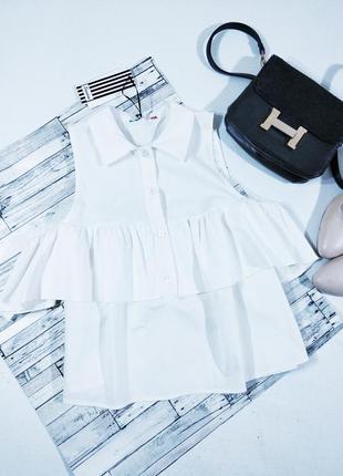 Блуза белая  с воротником,волан на руках doniy moda