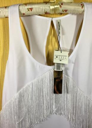 Финальный sale новых вещей! stradivarius свободное белое платье с бахромой