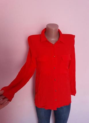 Фактурная рубашка шифоновая блуза коралловая яркая блузка zara